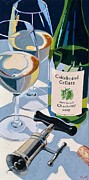 Blue Red And White Posters - Cakebread Chardonnay Poster by Christopher Mize