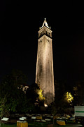 Ucla Posters - Cal Sather Tower Lights Up the Night Poster by Replay Photos