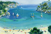 Boating Painting Framed Prints - Cala Galdana - Minorca Framed Print by Anne Durham