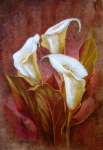Amate Bark Paper Prints - Cala Lillies Bouquet Print by Juan Jose Espinoza