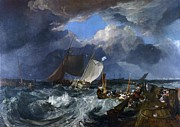Storm Clouds Paintings - Calais Pier by Pg Reproductions