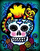 Sugar Skull Drawings Posters - Calavera Encatada - Catted Sugar Skull Poster by Laura and Karina Gomez