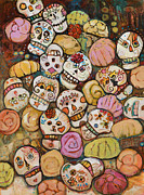 Mexican Painting Originals - Calaveras Azucar y Pan Dulce by Jen Norton