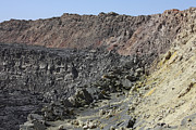 Volcanic Rocks Framed Prints - Caldera Wall And North Crater, Erta Ale Framed Print by Richard Roscoe