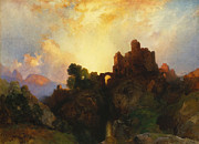 Castle On Mountain Posters - Caledonia Poster by Thomas Moran