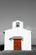 Rustic Photo Prints - Calera Mission Chapel Facade in West Texas Color Splash Black and White Print by Shawn OBrien