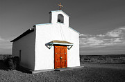 Travelpixpro Posters - Calera Mission Chapel in West Texas Color Splash Black and White Poster by Shawn OBrien