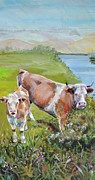 Cattle Framed Prints Painting Framed Prints - Calf and Cow Narrow Painting Framed Print by Mike Jory