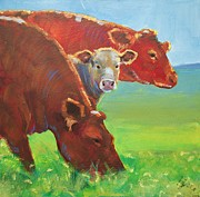 Mike Jory Cow Posters - Calf and Cows Painting Poster by Mike Jory