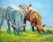 Mike Jory Cow Posters - Calf and Landscape Painting Poster by Mike Jory