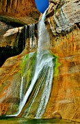 Beautiful Creek Posters - Calf Creek Falls II Poster by Ellen Lacey