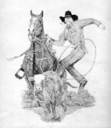 Old West Drawings - Calf Roper by Lucien Van Oosten