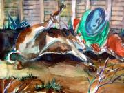 Cowboy Art Originals - Calf Roping by Mindy Newman