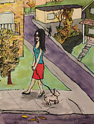 Dog Walking Drawings Prints - Calgary Girl Print by Dan Finnson
