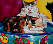 Kitty Painting Posters - Calico And ET Poster by Patti Schermerhorn