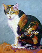 Feline Drawings Posters - Calico Buddy Poster by Susan A Becker