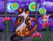 Whimsical Animals  Art - Calico Cat In Moonlight by Genevieve Esson