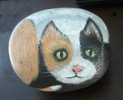 Round Sculpture Prints - Calico Cat Print by Monika Dickson
