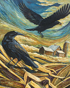 Crows Paintings - Calico Corn by Paula Blasius McHugh