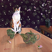 Plum Blossoms Paintings - Calico Tea Meditation by Laura Iverson