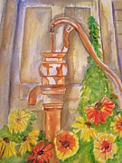 Abandoned Houses Painting Metal Prints - Calico Water Pump Metal Print by Belinda Lawson
