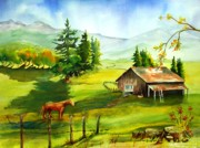Old Barn Paintings - Califorina Countryside by Maryann Schigur
