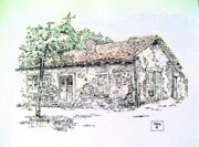 Early Drawings Prints - California Adobe Print by Roberto Prusso