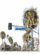 Los Angeles Mixed Media Prints - California Ave. Print by Russell Pierce