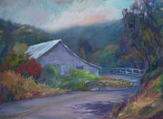Road Paintings - California Barn ... Around the Bend by Deirdre Shibano