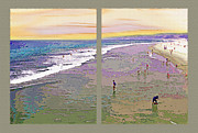 Coastline Mixed Media - California Beachgoers Diptych 2 by Steve Ohlsen