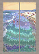 Coastline Mixed Media - California Beachgoers Diptych by Steve Ohlsen