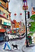 Julia Lueders Paintings - California Chinatown  by Julie Lueders