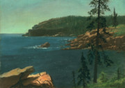 Ocean Shore Painting Posters - California Coast Poster by Albert Bierstadt