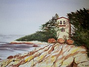 Villa Paintings - California Coast Dreamhouse by Judy Via-Wolff