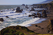 Wave Metal Prints - California coast Sonoma Metal Print by Garry Gay