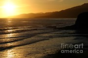 California Coast Framed Prints - California coast sunset Framed Print by Balanced Art