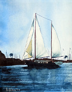 Sailboat Ocean Mixed Media Posters - California Dreamin III Poster by Kip DeVore