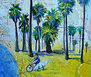Bicycle Mixed Media Posters - California Dreaming Poster by Tilly Strauss