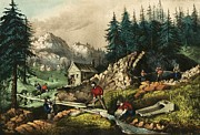 Ives Paintings - California Gold Mining by Pg Reproductions