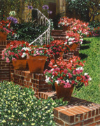 Flower Gardens Painting Posters - California Impatiens Poster by David Lloyd Glover