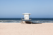 Huntington Prints - California Lifeguard Tower Photo Print by Paul Velgos