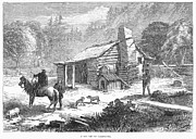 Mountain Cabin Posters - CALIFORNIA LOG CABIN, 1877. Wood engraving, American, 1877 Poster by Granger