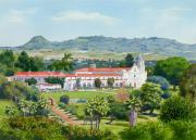 Cemetery Painting Posters - California Mission San Luis Rey Poster by Mary Helmreich