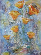 Stems Mixed Media - California Poppies by Chaline Ouellet