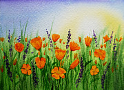 California Contemporary Gallery Framed Prints - California Poppies Field Framed Print by Irina Sztukowski