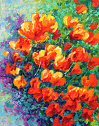 Palette Knife Art Posters - California Poppies Poster by Marion Rose