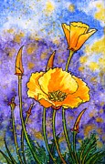 Poppies Art Gift Framed Prints - California poppies Framed Print by Zaira Dzhaubaeva