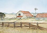 Family Farm Painting Prints - California Ranch Print by Virginia McLaren