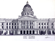 Pen And Ink Framed Prints Art - California State Capitol by Frederic Kohli