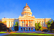 Cityscape Digital Art Metal Prints - California State Capitol . Painterly Metal Print by Wingsdomain Art and Photography